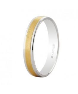 Alianza de boda bicolor oro 18