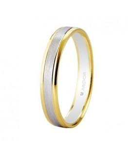 Alianza de boda bicolor 2 oros